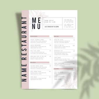 Restaurant menusjabloon