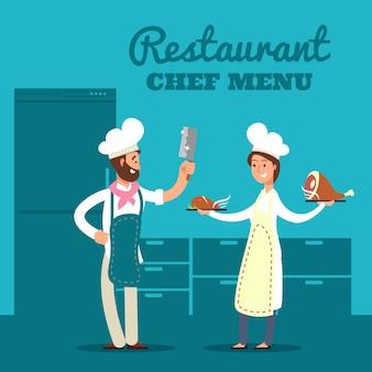 Restaurant met keukensilhouet en cartoonchef-kok en koks