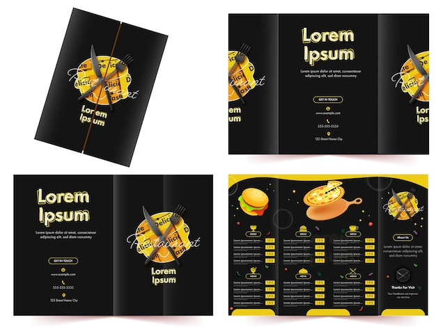 Restaurant of hotel menukaart sjabloon lay-out met heerlijk eten en prijzen details