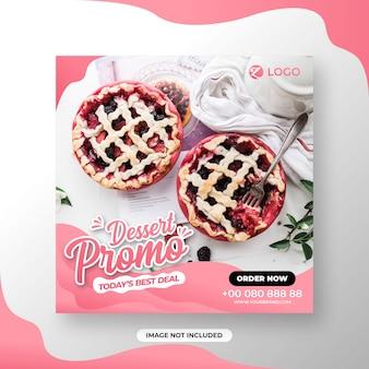 Restaurant of voedselmenu sociale media posttemplate dessert promo