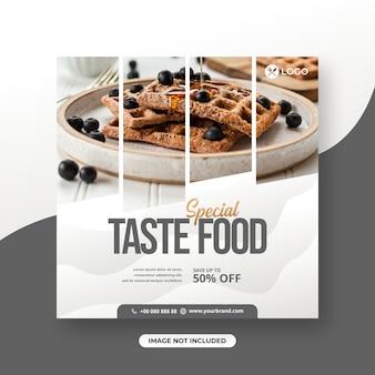 Restaurant of voedselmenu sociale media posttemplate speciaal smaakvoeding