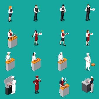 Restaurant personeel isometrische set