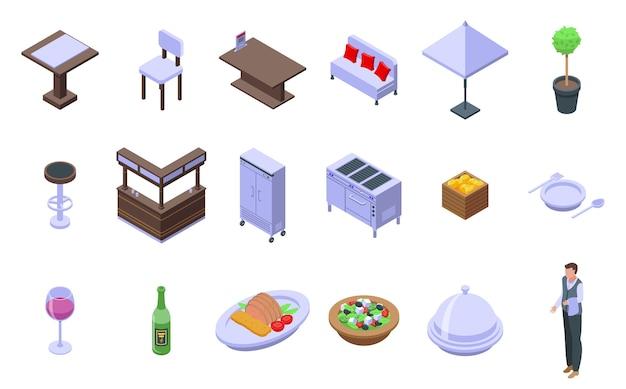 Restaurant pictogrammen instellen. isometrische reeks restaurantpictogrammen voor web dat op witte achtergrond wordt geïsoleerd