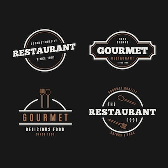 Restaurant retro logo collectie op zwarte achtergrond