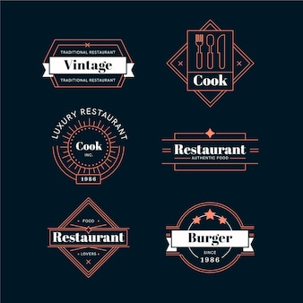 Restaurant retro logo collectie