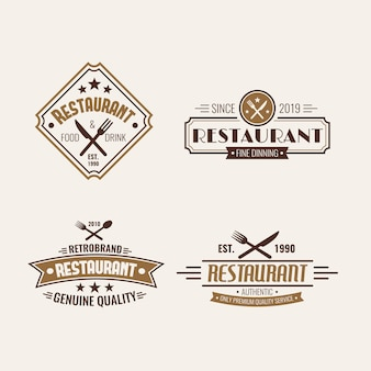 Restaurant retro logo sjabloon collectie