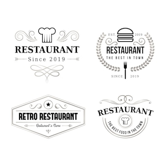 Restaurant retro merk logo set