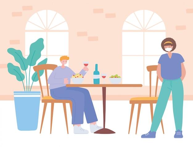 Restaurant sociale afstand, afzonderlijke klanten tijdens de lunch, pandemie, preventie van coronavirusinfectie