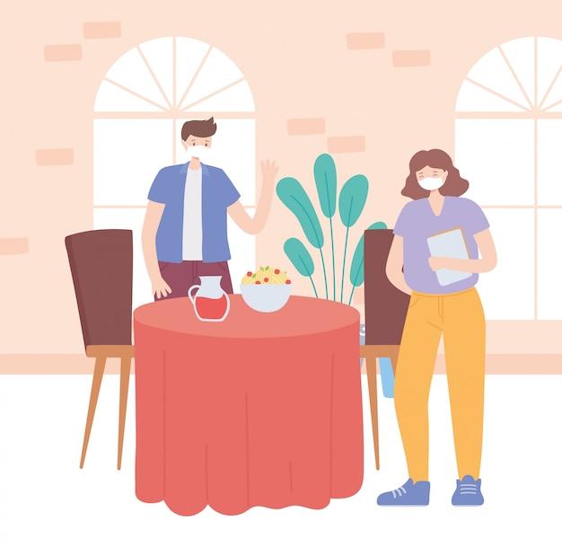 Restaurant sociale afstand, man eet afstand houden, pandemie, preventie van coronavirusinfectie