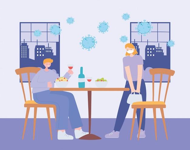 Restaurant sociale afstand, mensen die afstand houden aan tafel voor infectierisico en ziekte met medische maskers, pandemie