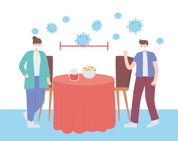 Restaurant sociale afstand, mensen die afstand van elkaar eten om een ziekte-uitbraak, pandemie te voorkomen