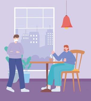 Restaurant sociale afstand, vrouw eten en drinken op veilige afstand, pandemie, preventie van coronavirusinfectie