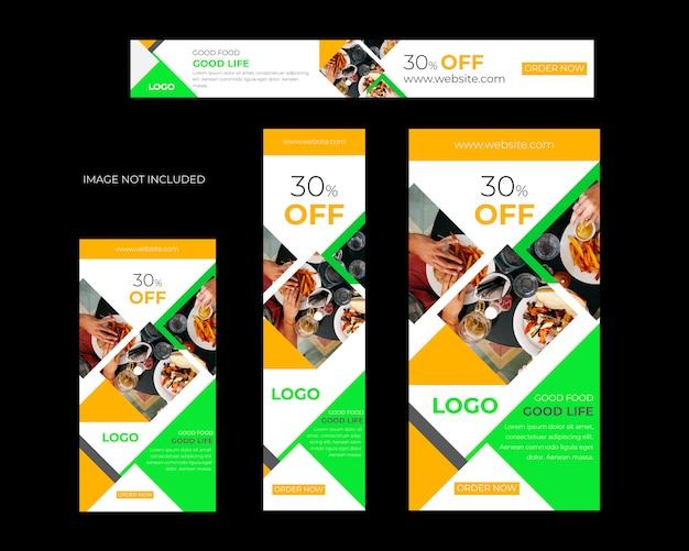 Restaurant sociale media banner set