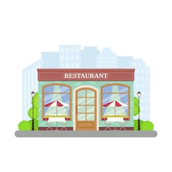 Restaurant. straat café winkel. illustratie in flat.