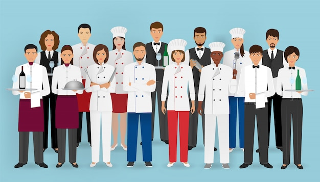 Restaurant team in uniform. groep tekens van cateringservice: chef-kok, kok, obers en barman.