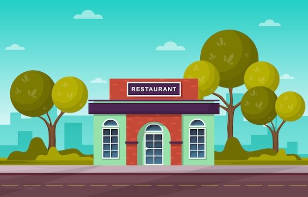 Restaurant voorkant winkel vlakke afbeelding