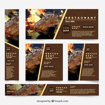 Restaurant webbanner collectie met foto