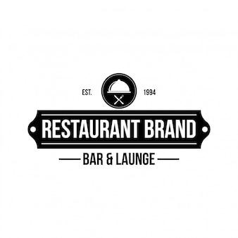 Restaurant winkelelement in vintage stijl voor logo, label, insigne en andere. vork en lepel retro illustratie.