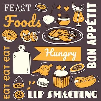 Restaurantachtergrond met divers voedsel in krabbelstijl.