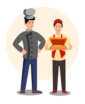 Restaurantarbeiders in uniformen vlakke karakters