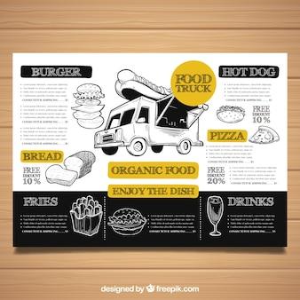 Restaurante menusjabloon met voedsel vrachtwagen