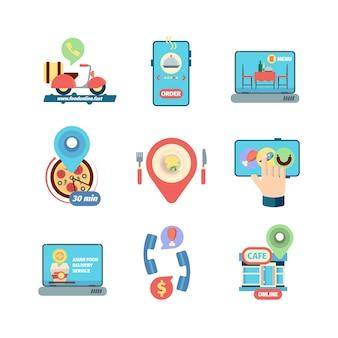 Restauranteten bestellen. winkelen en levering product service speciale winkel marketing platte concept vectorillustratie. levering snel online bestellen, restaurant app