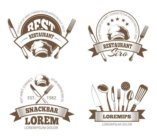 Restaurantetiketten, emblemen, badges, logo's voor menu