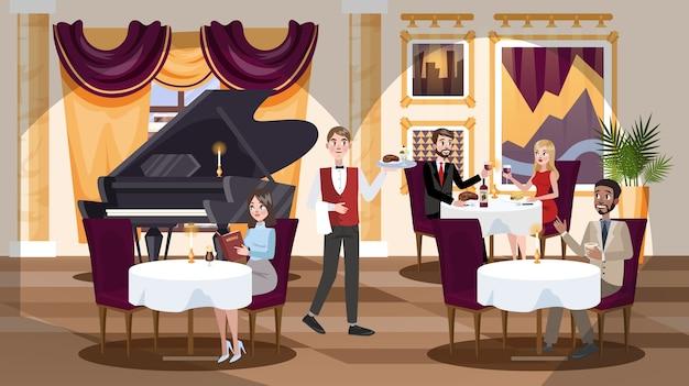 Restaurantinterieur in een hotel met mensen binnen.