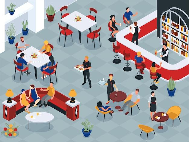 Restaurantinterieur met mensen die aan tafels zitten en obers die isometrisch eten en drinken serveren