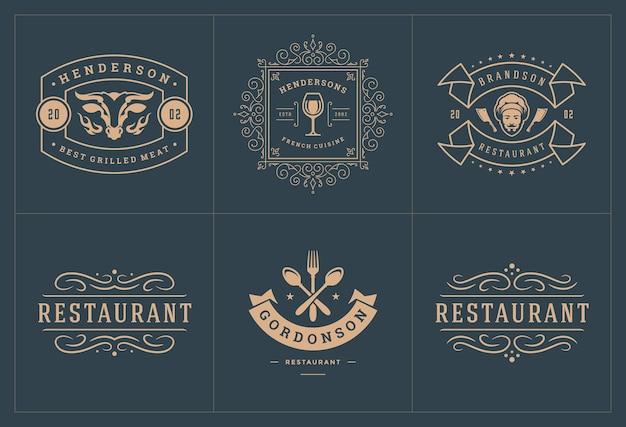 Restaurantlogo's sjablonen instellen illustratie goed voor menulabels en café-badges
