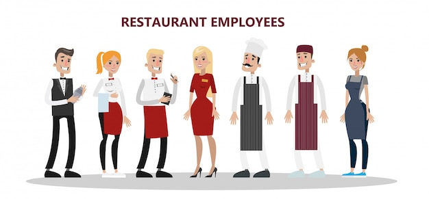 Restaurantmedewerkers ingesteld. chef, manager en ober