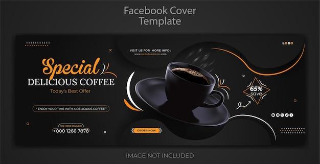 Restaurantmenu coffeeshop drinken sociale media facebook omslagbannersjabloon premium psd
