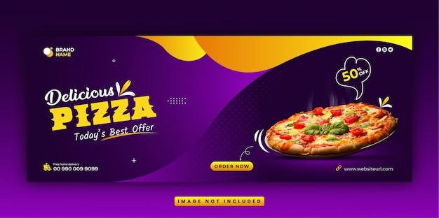 Restaurantmenu en heerlijke fastfood pizza sociale media facebook omslag en webbannersjabloon
