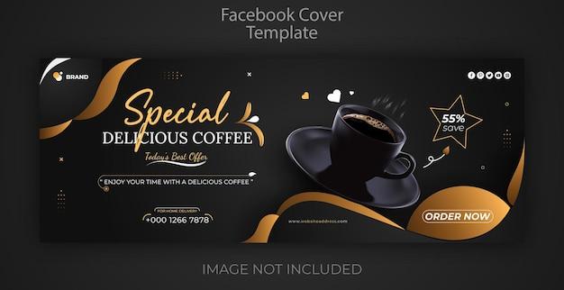 Restaurantmenu eten sociale media promotie koffie facebook omslag en webbannersjabloon