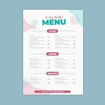 Restaurantmenu in kleurrijke stijl