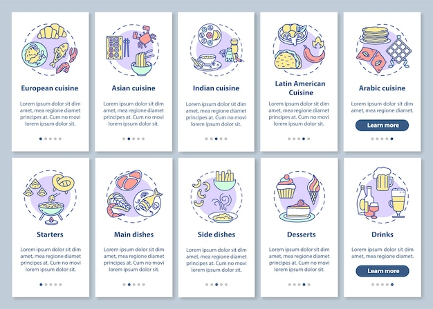 Restaurantmenu onboarding mobiele app-paginascherm met concepten ingesteld
