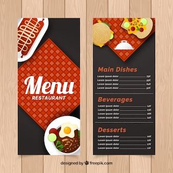 Restaurantmenu, platte stijl