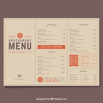 Restaurantmenu, retro stijl