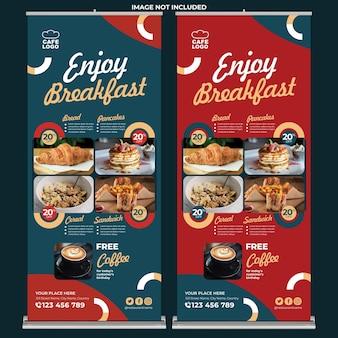 Restaurantpromotie roll-up banner afdruksjabloon in platte ontwerpstijl