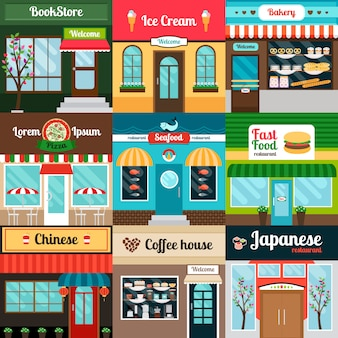 Restaurants met verschillende soorten voedsel voorgevel