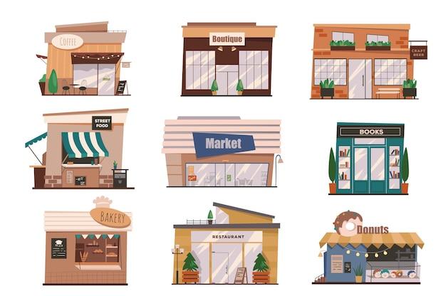 Restaurants of winkels gevels geïsoleerde scènes set