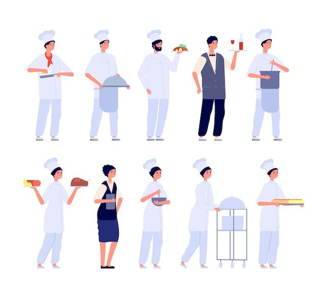 Restaurantteam. voedselspecialist, flatchef en ober. geïsoleerde cafémanager, vriendelijk personeel?