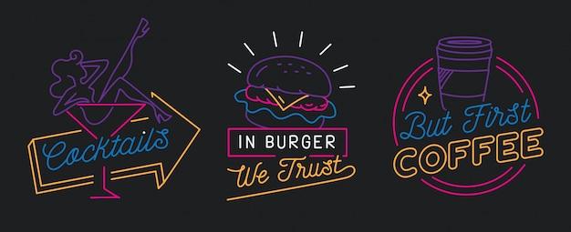 Restaurantteken in lijnstijl vector