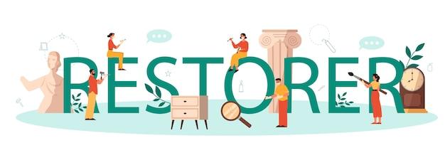 Restaurateur typografische header concept. kunstenaar restaureert een oud standbeeld, oude schilderijen en meubels. persoon repareert zorgvuldig oud kunstvoorwerp. vectorillustratie in cartoon-stijl