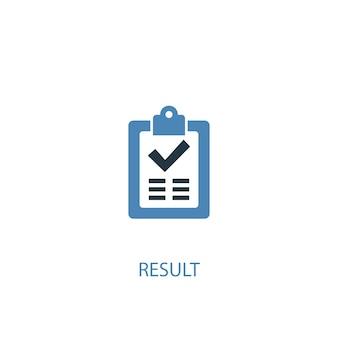 Resultaat concept 2 gekleurd icoon. eenvoudige blauwe elementenillustratie. resultaat concept symbool ontwerp. kan worden gebruikt voor web- en mobiele ui/ux