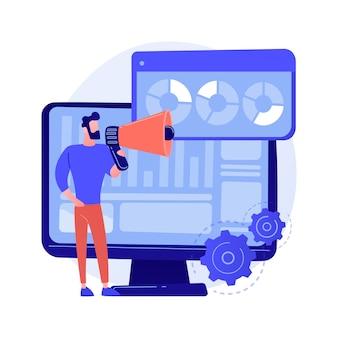 Resultaten van internetpeiling. marketingonderzoek, analyse van rapporten, vragenlijst. marketeer stripfiguur met megafoon. infographics op het concept illustratie van het monitorscherm