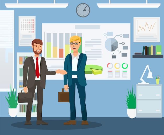 Resulterende job interview flat colour illustratie