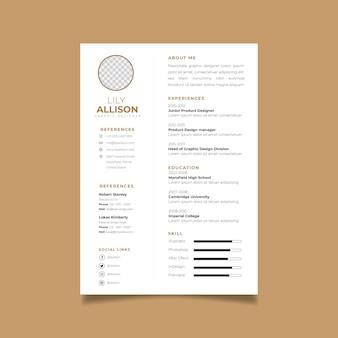 Resume template minimale ontwerp cv. zakelijke lay-out vector voor sollicitaties.