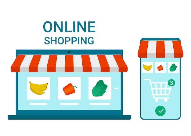 Retail naar online smartphone- en laptop-app voor het winkelen van goederen boodschappen thuisbezorgd