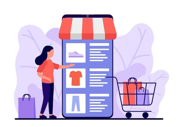 Retail, shop online. smartphone-app voor het kopen van goederen. vrouw maakt online aankopen via telefoon, product kiezen. winkelwagen voor koper met kleding en schoenen. e-commerce op smartphone.